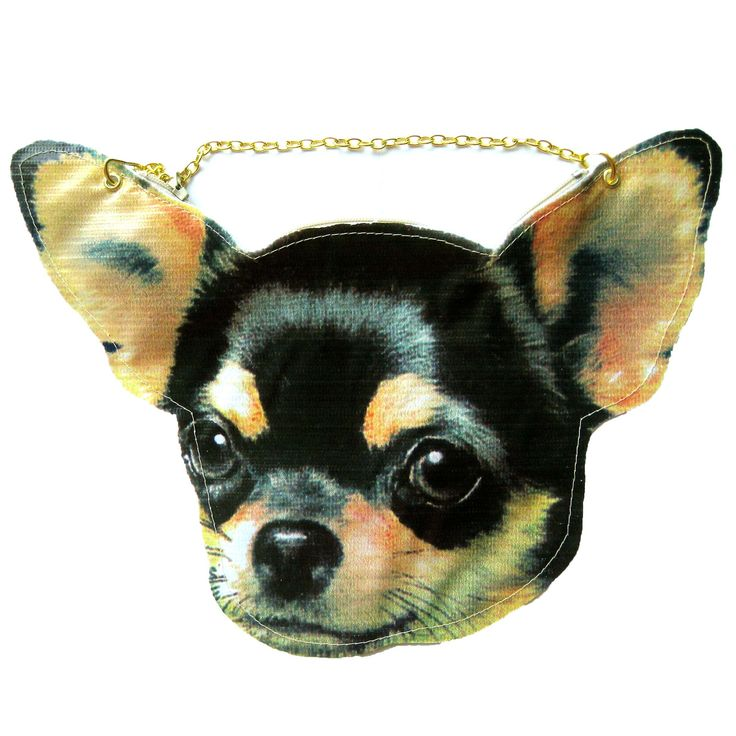 Baby Chihuahua Puppy Dog Head Shaped Vinyl Animal Themed Cross Shoulder Bag