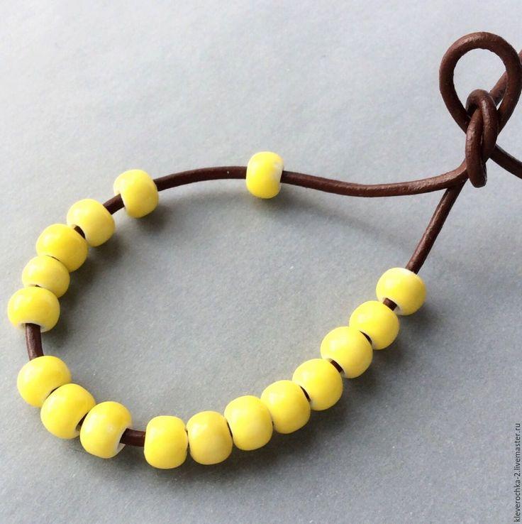 Купить _Керамические бусины 6,5х5,5 мм шайба желтые для украшений