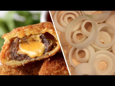 Cheeseburger Stuffed Onion Rings- Buzzfeed Test #41 - YouTube