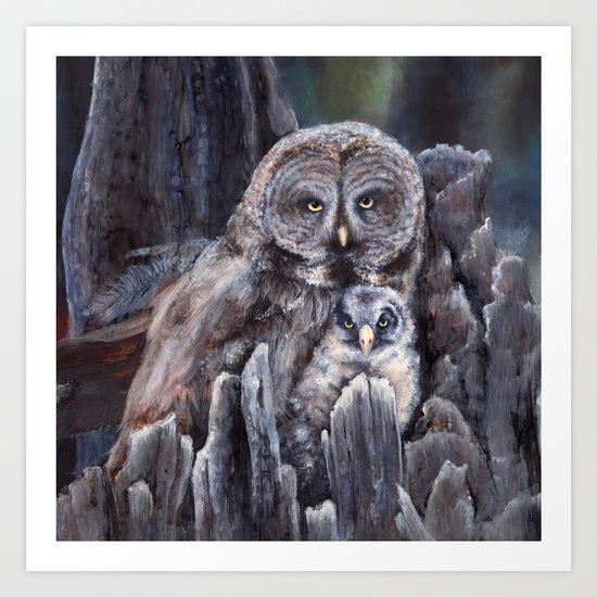 Wood  -  Owls Art Print by Patrizia Ambrosini | Society6