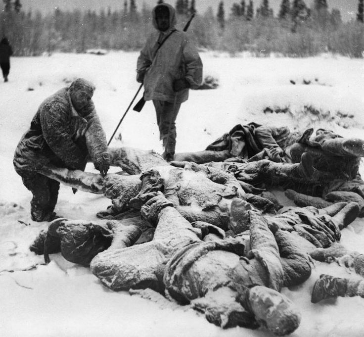 Finnish patrol discovers a pile of Red Army soldiers, frozen stiff in the snow, 31st January 1940.
