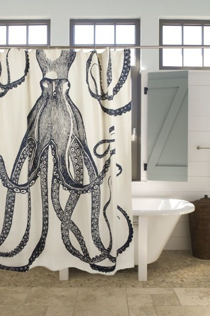 If you love the beauty of the ocean, this octopus themed shower curtain will give a sense of deep waters, in the comfort of your bathroom.