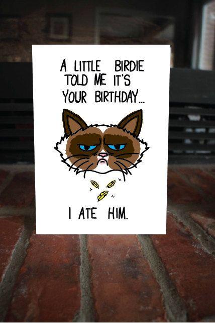 """Funny """"I ate him"""" Birthday Card, Cute Grumpy Cat Meme, B-Day Card"""