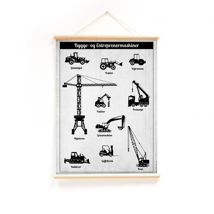 Plakat med traktor, gravko, kranvogn og mange flere i monokrom look fra Hollanske Little and Pure, som laver et hav af fede skoleplakater til både stuer, børneværelser og køkkener. Plakaten er lavet med rundstokke i både top og bund, og kan derfor hænges op helt rå. Det rå udseende er ideel til retrostilen, det monokrome og den nordiske stil vi i Danmark benytter os meget af. På plakatens bagside er der en byggeplads i monokrome farver og en masse entreprenør og byggemaskiner.