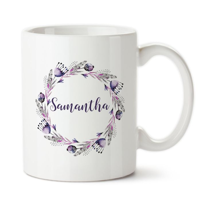 Personalized Mug, Floral Art, Coffee Mug Cup, Typography, Ceramic Cup, 11 or 15oz, Permanent Ink, Tea Mug, Purple, Name Mug, Custom Mug, Dishwasher Safe, Microwave Safe  ########################### IN YOUR ORDER NOTES INCLUDE THE NAME YOU WANT TO HAVE ON THE MUG ###########################################################################################  Each mug design is custom made and professionally created in Graniteville, SC. Each mug is made after the order is placed. Due to the…