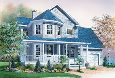 Country Style House Plans - 1760 Square Foot Home , 2 Story, 3 Bedroom and 2 Bath, 1 Garage Stalls by Monster House Plans - Plan 5-826