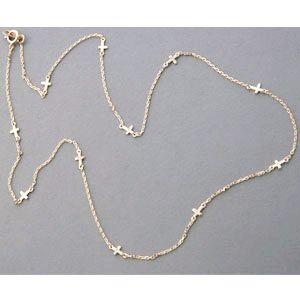 Yellow Gold Sideways Cross Chain Necklace Sterling Silver - kellinsilver.com