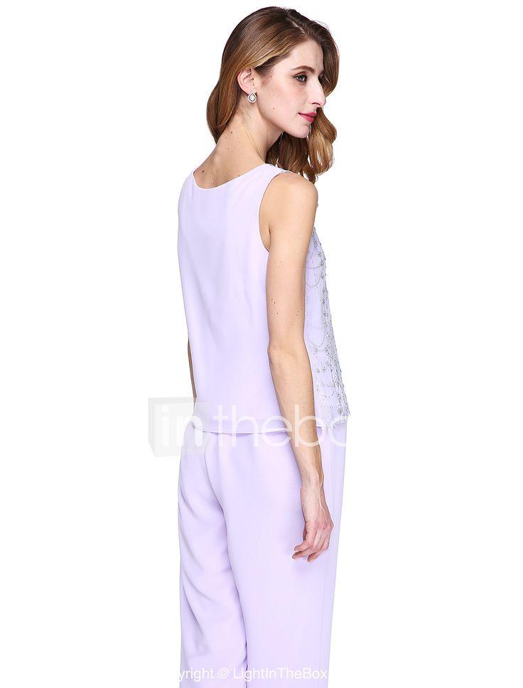 Ίσια Γραμμή Παντελόνια Με Κόσμημα Μακρύ Σιφόν Φόρεμα Μητέρας της Νύφης - Πούλιες με LAN TING BRIDE® 4915423 2017 – €140.99