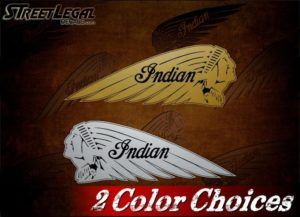 2 Indian Motorcycle War Bonnet Gold or Silver Vinyl Stickers