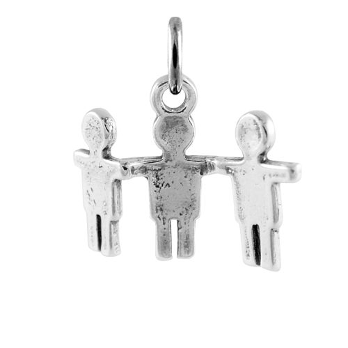 Sterling Silver Paper Boy Cut Out Necklace Charm