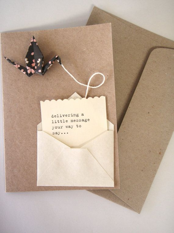 Handmade Origami Blank Card: Bird Notes