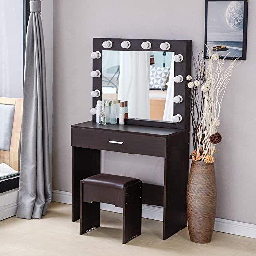 Vanity Table Set Bedroom, Black Vanity Set With Light Up Mirror