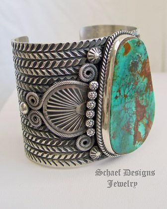 AAA Natural Gem Grade Pilot Mountain Turquoise & Sterling Silver Large Cuff Bracelet artist signed Darryl Cadman   online upscale native american jewelry boutique gallery  Schaef Designs Southwestern turquoise Jewelry    New Mexico