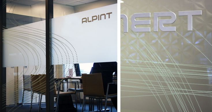 Glass film meeting room, frosted, white dotted lines. Read more about the project