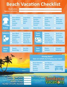 Beach Vacation Checklist Sundance Vacations