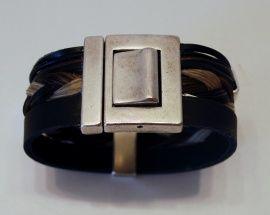 Brede armband met leer en paardenhaar | Sieraden van paardenhaar | Teddy`s Design