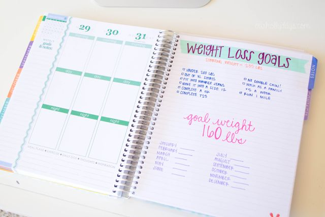 weight loss goals in notes section of the @erincondren.com life planner