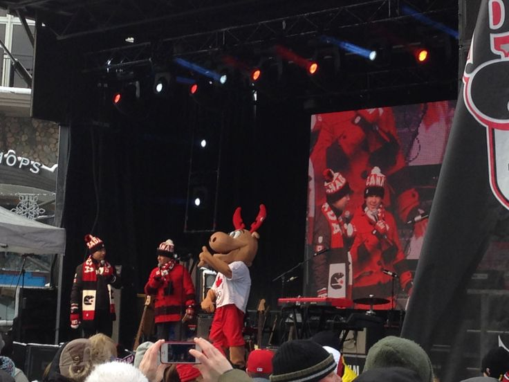 Komak the Moose, Canada's new Olympic mascot, on stage in Banff