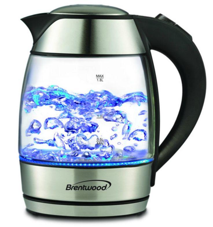 Electric tea kettle glass black stainless steel 18liter