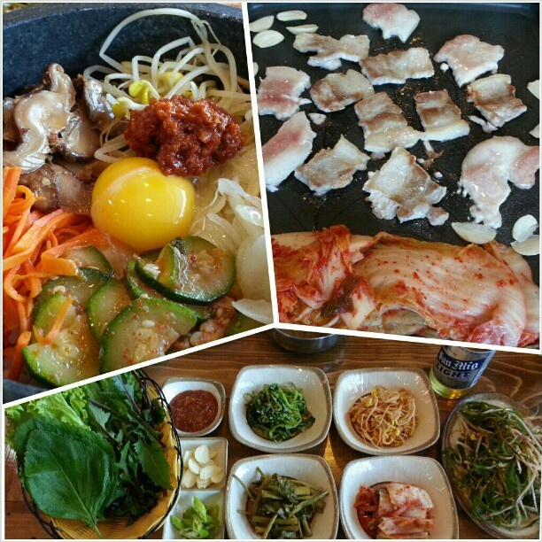 #晩ごはん は#韓国料理 #ビビンバ#サムギョプサル#前菜 #korean #dinner after #goodfriday #mass #bibimbap #samgyupsal #vegetables #yummy#food#holyweek#holidays#philippines#フィリピン#焼肉#yakiniku#bbq