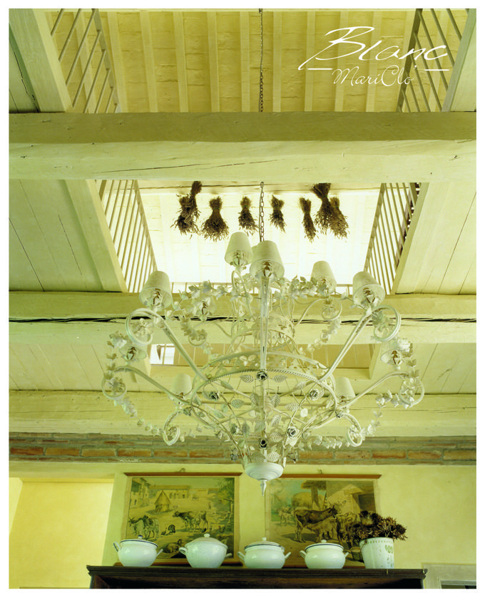 Blanc Mariclo country chic interior with lovely chandeliers