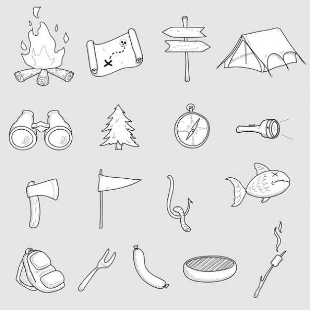 Camping vector set - hand drawn