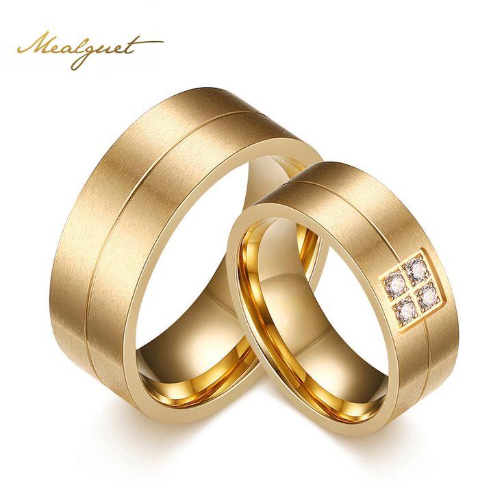 Meaeguet Fashion Ringen Rvs Ringen Voor Vrouwen Mannen Trouwringen Met CZ Steen Paar Sieraden Engagement Wedding Bands