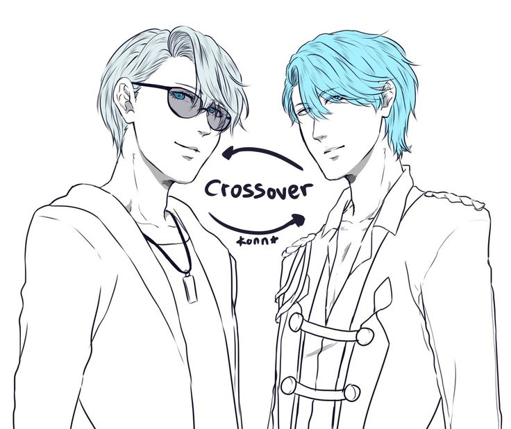 """Doodle Viktor (Yuri on ice) crossover with V (Mystic Messenger), finally i did it! tried to swap their clothes~  Viktor and V is my mistake"""