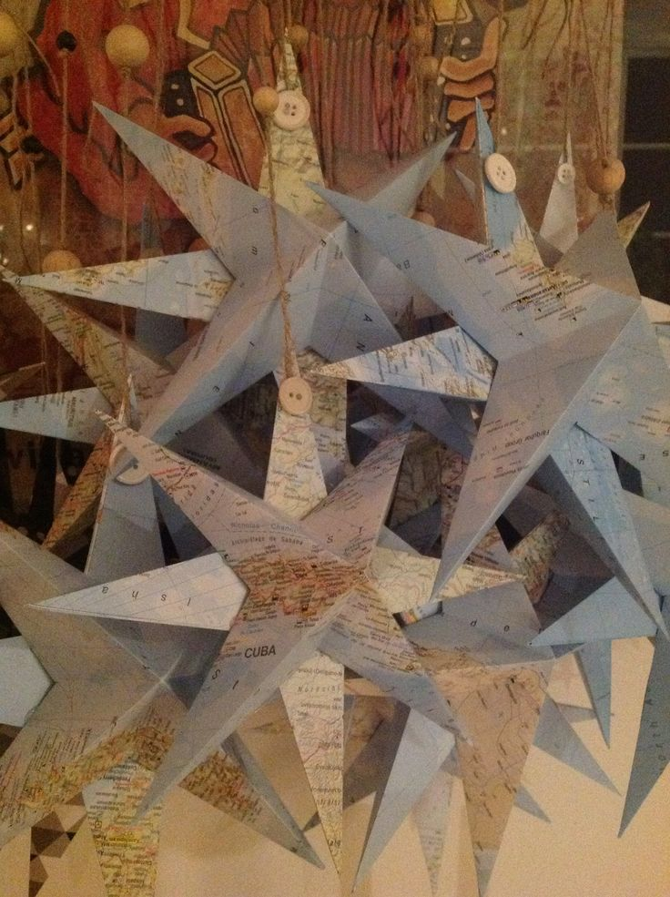 Paper star ornament - recycle old map