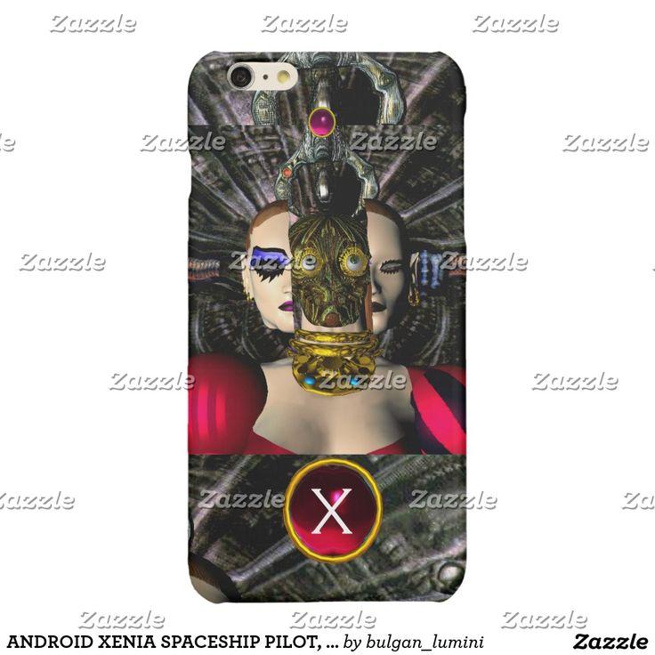 ANDROID XENIA SPACESHIP PILOT, Gem Monogram Sci Fi Glossy iPhone 6 Plus Case by Bulgan Lumini (c) #robots #geek #scifi #3danimation #androids #alien #tech