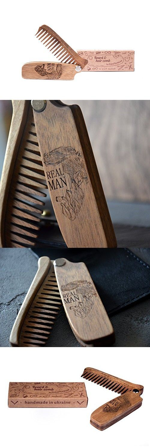 """Beard Comb Wooden Folding Beard Comb Covered With Oil-Wax 4,3""""X 1,2"""" Moustache Comb Wooden Walnut Folding Comb For Men With Real Man Grooming Kit Pocket Husband Gift Anniversary By Enjoy The Wood"""