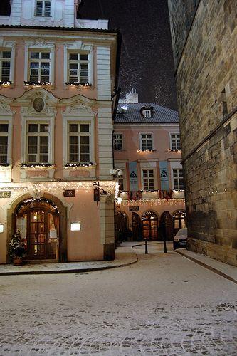 Photo of romantic Prague in winter