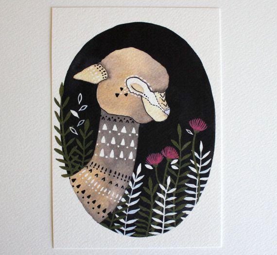 Alpaca Illustration Painting  Watercolor Art  by RiverLuna on Etsy