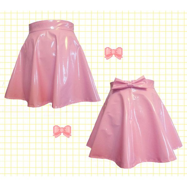 Pastel Pink Pvc Skater Skirt With Removable Bow Back ($38) ❤ liked on Polyvore featuring skirts, light pink, women's clothing, light pink skirt, pastel pink skirt, circle skirt, pastel skater skirt and high-waisted skirts