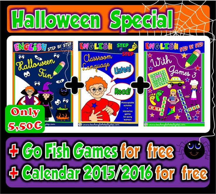 Halloween SpookTacular offer! Buy Halloween Fun Pack + Classroom Language Pack + English With Games 3  for ONLY 5€...  ... And get Go Fish Games + School Calendar 2015/2016 FOR FREE!