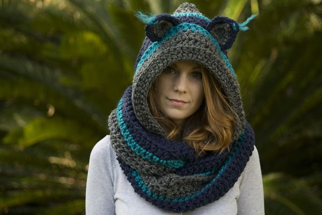 Knitting Pattern Hood With Ears : Hooded Scarf with Cat Ears, Cat Scoodie pattern by Melissa ...