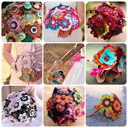 Dica CEREJA: Uma idéia super graciosa, criativa , diferenciada e o melhor é que dá para guardar de recordação por bons longos anos.  Bouquet de noiva em feltro.