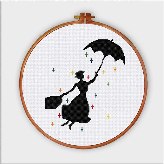 Mary Poppins, cute silhouette cross stitch pattern, nursery cross stitch pattern, baby room decor, pop culture cross stitch design,baby gift