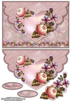 Roses and thistles envelope card with decouapge on Craftsuprint designed by Amanda McGee - A pretty envelope featuring roses and thistles design - Now available for download!