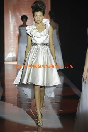 David Fielden belle robe de mariée glamour longue genou simple ornée de cristal satin Style 6950