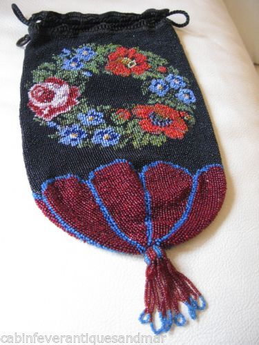 Antique Victorian Black Red Floral Crochet Micro Bead Reticule Drawstring Purse | eBay