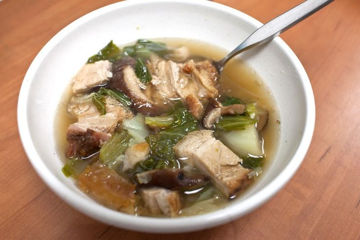 Wendell usually makes this with won bok, but this time he used mustard cabbage. He also added shiitake mushrooms, though the recipe doesn'...