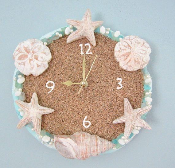 Beach decor nautical wall clock w sand face by for Nautical craft ideas