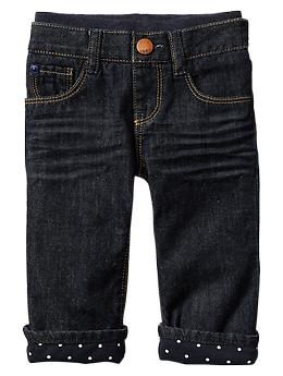 Lined pull-on boot cut jeans