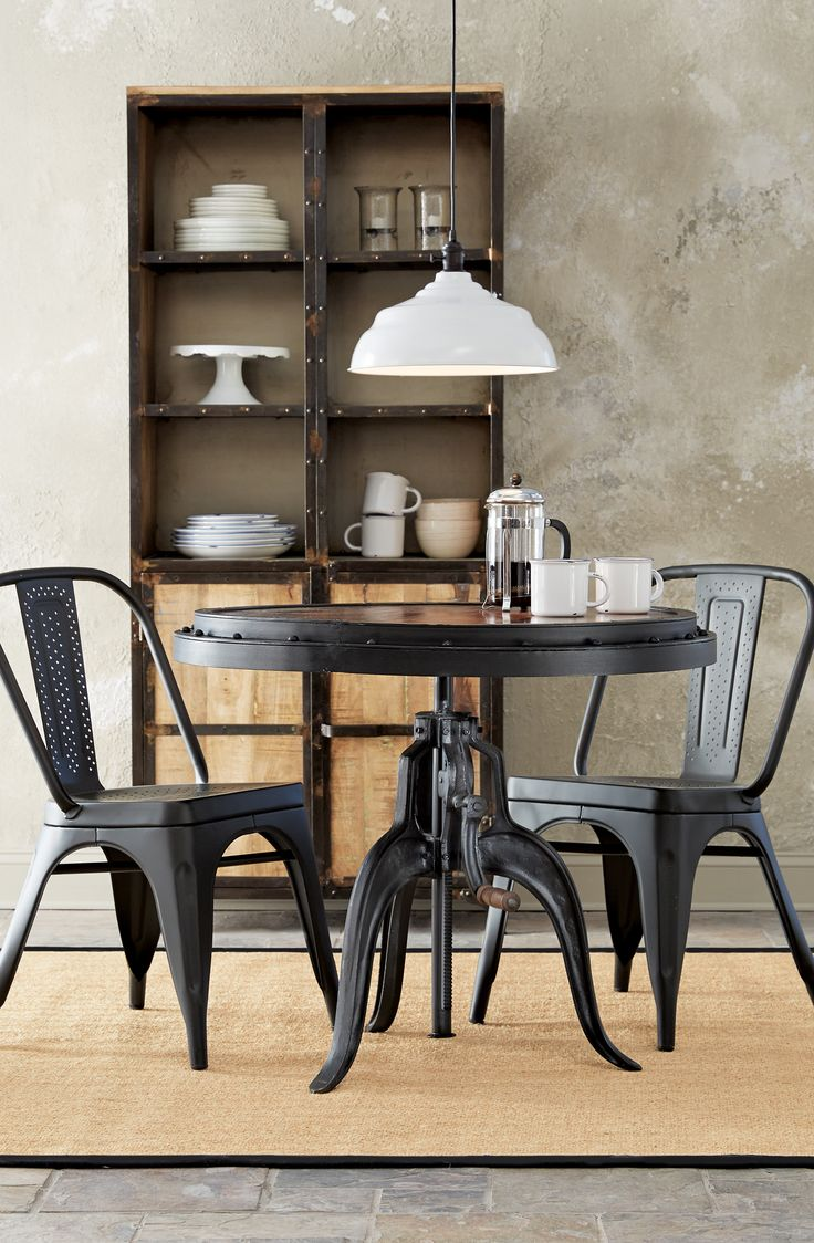 Industrial Style Dining Complete With Metal Chairs. HomeDecorators.com