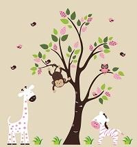 Jungle Animal Wall Decals-Jungle Animal Wall Decals with giraffe zebra monkey, boys room wall decals stickers, girls boys room wall decor, nursery room decor, baby room wall decor | Bebe Diva