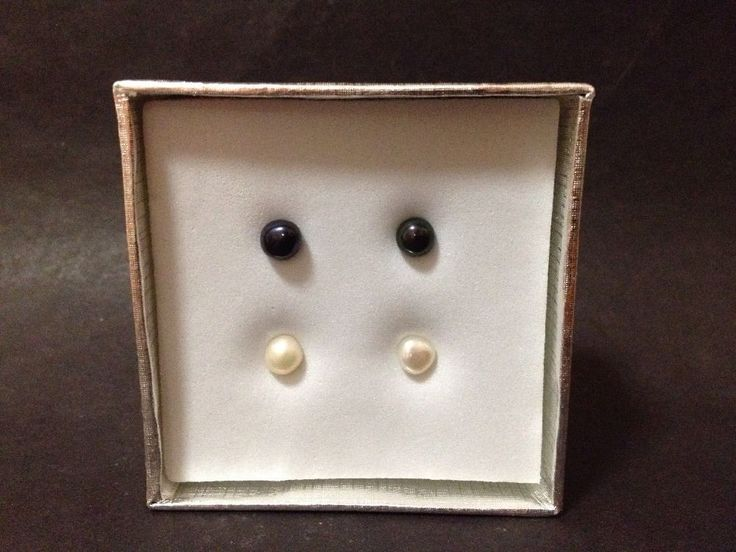 AS NEW - Set of 2 - Cultured Pearl Steel Stud Earrings - Cream & Charcoal Colour