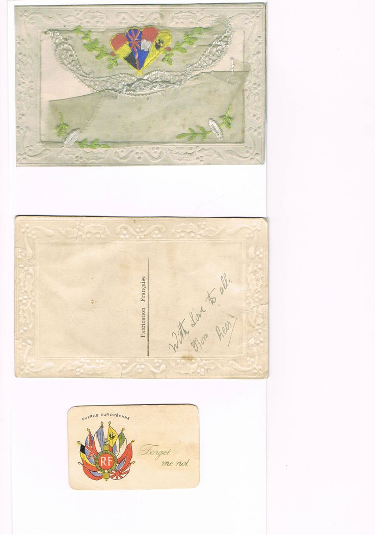 Rhys Henry Williams – Royal Welsh Fusiliers - lost his life on 10th July 1916 at only 20 years old.  He sent this silk embroidered envelope signed 'With love to all from Rees' to his sister Anne Williams which contained a printed Forget- me- not card