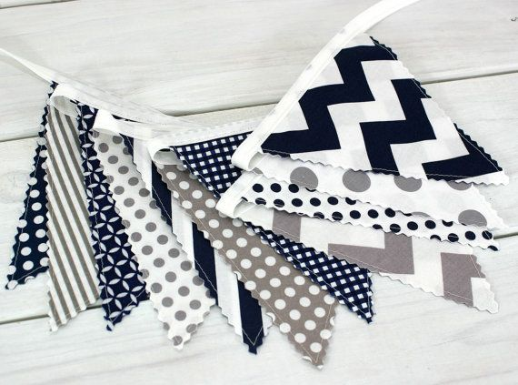 Bunting Banner, Photography Prop, Fabric Flags, Nautical Nursery Decor - Navy Blue, Gray, Grey, Stripes, Chevron and Dots - Ready to Ship