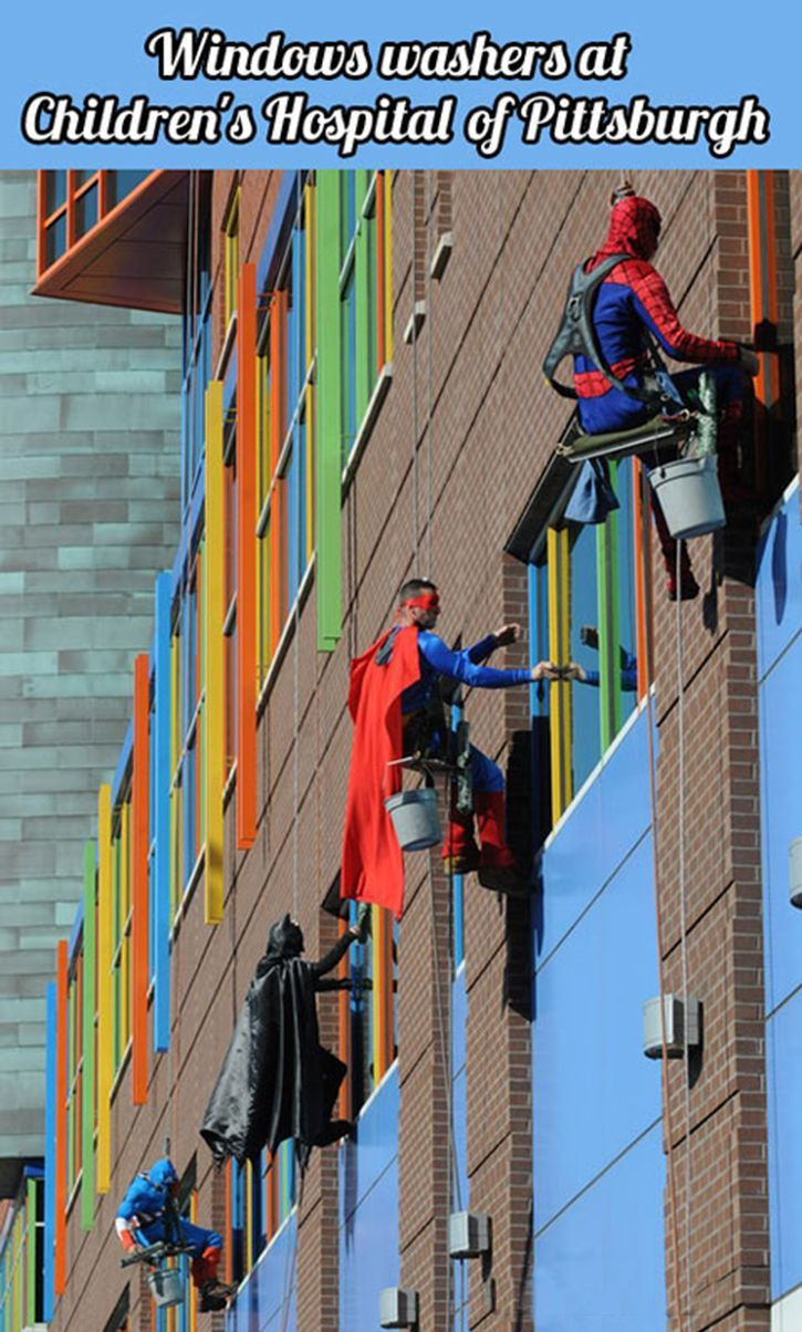 Captain America, Batman, Superman and Spidey adorably storm Pittsburgh Children's Hospital. Heart warming proof that superheros do exist.